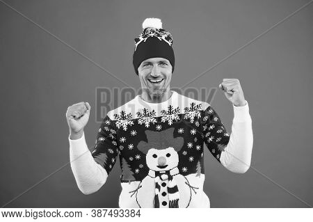Winter Chill Get Strong. Unshaven Guy Smile In Snowman Winter Style Jumper. Happy Man With Casual Wi