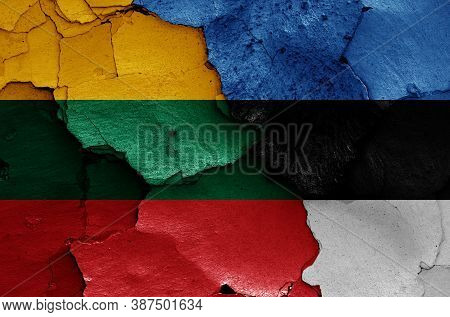 Flags Of Lithuania And Estonia Painted On Cracked Wall