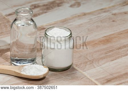 Baking Soda - Sodium Bicarbonate And Vinegar, Photo On The House Floor.