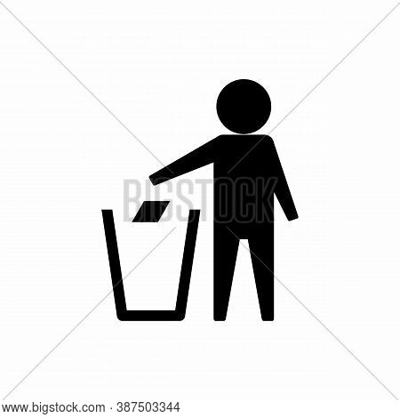 Do Not Litter Flat Icon With Shadow Isolated On White Background. Keep It Clean Vector Illustration.