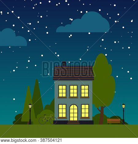 Closeup House Night Street Flat Cartoon Square Banner. Single House Under Starry Sky. Urban Small To