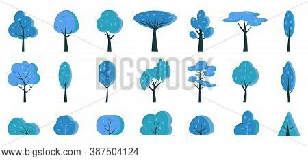Winter Blue Tree And Bush Flat Cartoon Icon Set. Simple Nature Elements To Create Of Snowy Forest Pa