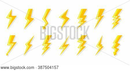 Yellow Lightning Bolt Icons Set. Electrical Strike With Arrow, Shock Lightning. Symbol Electricity,
