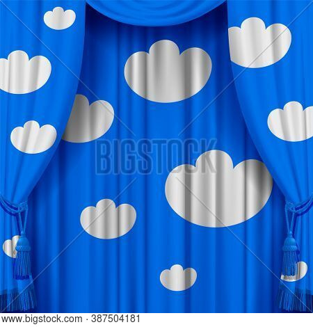 Light blue curtain with white decorative clouds. Artistic poster and background. 3D illustration