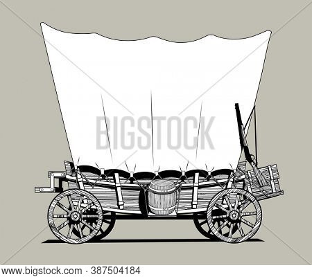 Linear black and white drawing of a Wild West covered wagon.