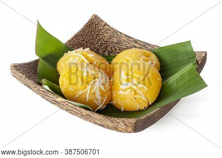 Toddy Palm Cake Is Thai Dessert Placed On Banana Leaf In Wooden Plate Isolated On White Background I