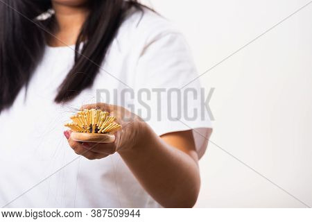 Asian Woman Unhappy Weak Hair She Shows Hairbrush With Damaged Long Loss Hair In The Comb Brush On H