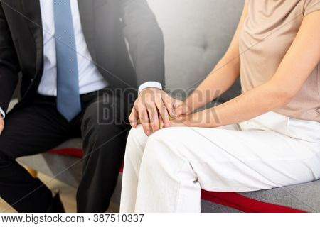 Psychiatrist Man Encourage And Holding Hand To Woman Patient,suicide Prevention,mental Health Care C
