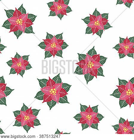 Abstract Poinsettia Flowers On A White Background. Christmas Symbol. Vector Seamless Pattern For Fes