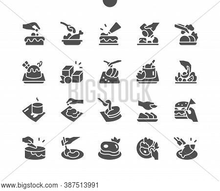 Chef Prepares Food In The Kitchen, Cooking And Decorates The Dish. Chef Hand Decorating Pasta, Salad