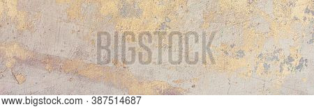 Old Cracked Weathered Painted Wall Background Texture. Yellow Dirty Peeled Plaster Wall With Falling