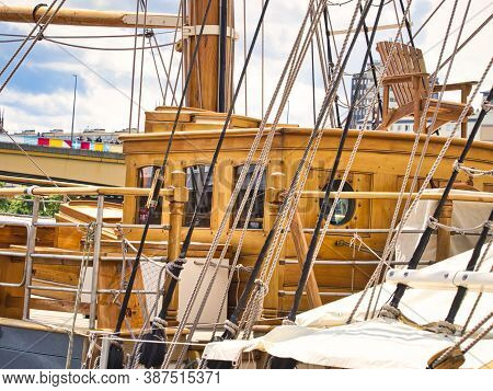 Rouen, France, June Circa, 2019. Close-up Details Of Three Masted Schooner Ship, Le Francais, French