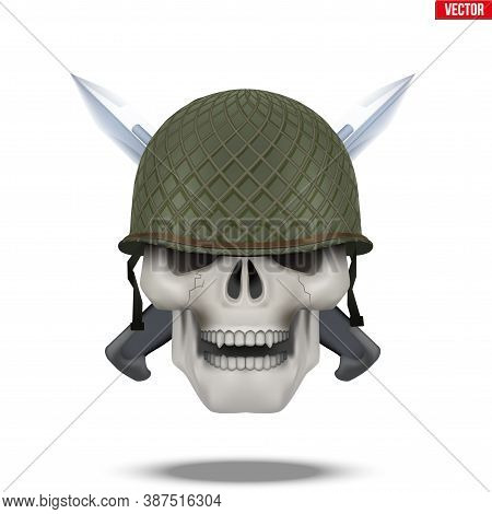 Skull With Military Helmet And Knife Cross. Symbol Of Militarism For Labels And Patches. Vector Illu