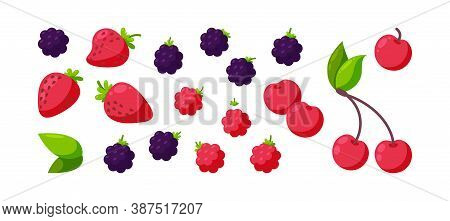 Berries Isolated In White Background. Juicy Cherry, Raspberry, Blackberry And Strawberry. Square Des