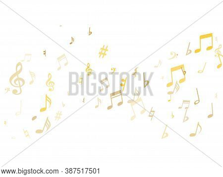 Golden Musical Notes Flying Isolated On White Background. Stylish Gold Musical Notation Symphony Sig