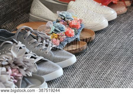 Variety Of Woman Fashion Shoes , Sandal On Gray Background