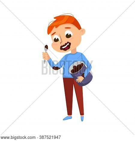 Boy Eating Chocolate Spread From Jar With Face Dirty, Kid Enjoying Eating Of Yummy Dessert Cartoon S