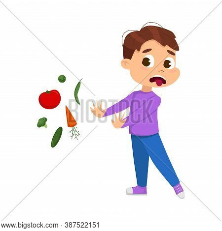 Cute Boy Does Not Want To Eat Vegetables, Kid Refusing To Eat Healthy Food Cartoon Style Vector Illu