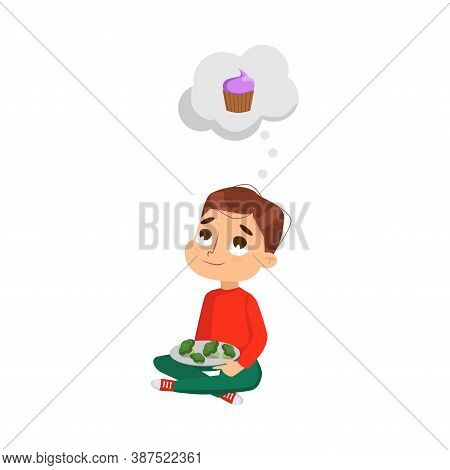 Cute Boy Eating Broccoli But Dreaming About Sweet Dessert, Kid Choosing Between Healthy And Unhealth