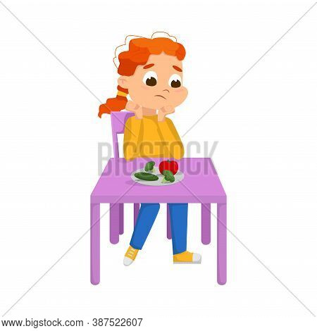Cute Boy Sitting At Table And Eating Vegetables, Child Refusing To Eat Healthy Food Cartoon Style Ve