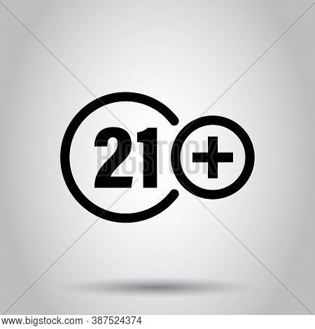 Twenty One Plus Icon In Flat Style. 21 Vector Illustration On White Isolated Background. Censored Bu