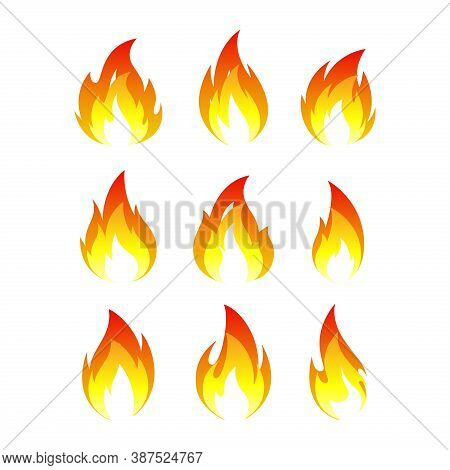 Fire Icon Vector Isolated On White Background. Fire Flame Icon Illustration. Fire Icon For The Web,
