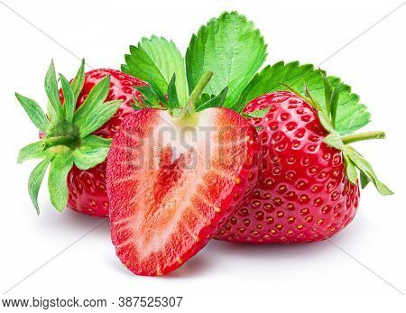 Strawberry with strawberries leaves and slices isolated on a white background.