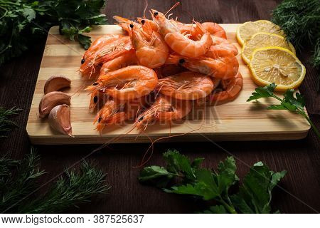Seafood Cooked Shrimp On A Wooden Table Seafood Cooked