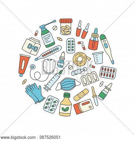 Meds, Drugs, Pills, Bottles And Health Care Medical Elements. Color Vector Illustration In Circle Sh