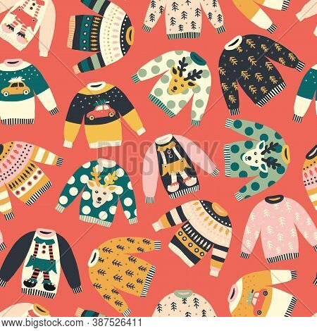 Seamless Pattern Ugly Christmas Jumpers. Repeating Vector Holiday Vintage Background. Knitted Winter