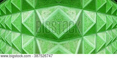 Pop Art Style Green Colored Diminishing Perspective Of 3d Architectural Lines For Abstract Backgroun