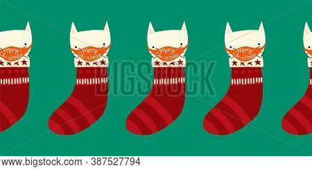 Corona Christmas Border. Cat In Stocking Wearing A Face Mask Cute Seamless Repeating Holiday Pattern