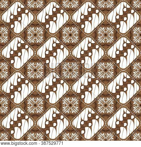 Solo Batik Design With Modern Floral Motif And Soft Brown Color Concept.