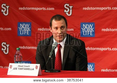 NEW YORK-OCT. 23: St. John's Red Storm head coach Joe Tartamella speaks to the media on October 23, 2012 at Carnesecca Arena, Jamaica, Queens, New York.