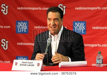 NEW YORK-OCT. 23: St. John's Red Storm head coach Steve Lavin speaks to the media on October 23, 2012 at Carnesecca Arena, Jamaica, Queens, New York.