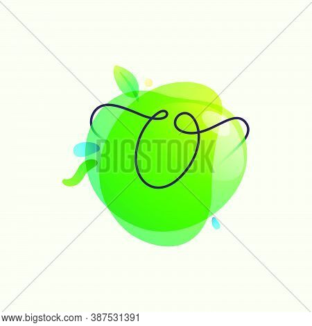 O Letter Logo Placed On Green Watercolor Blots. Overlapping Splashes Typeface Can Be Used For Ecolog
