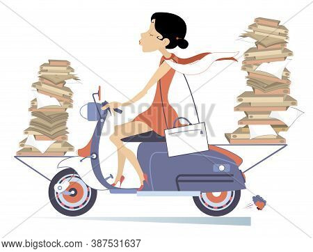 Young Woman Carries Papers Or Books By Scooter Illustration. Smiling Woman With Piles Of Documents O