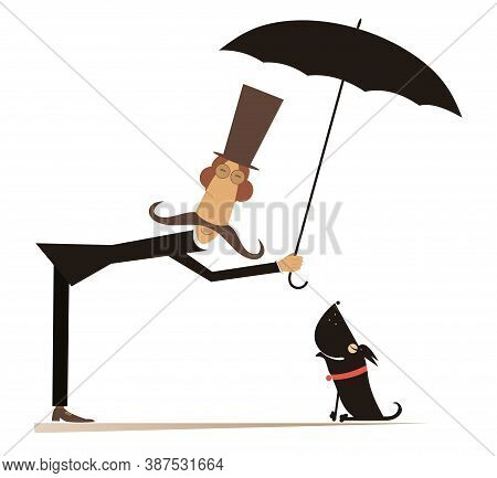 Long Mustache Man, Umbrella And The Dog Illustration. Funny Long Mustache Man In The Top Hat Protect