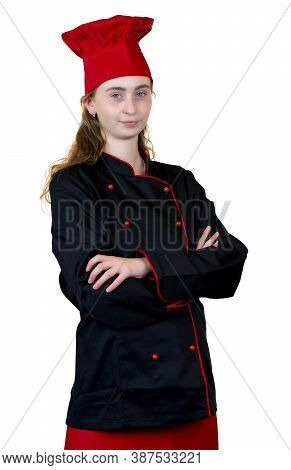 Young Female Cook Apprentice Isolated On White Background
