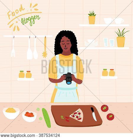 Black African Food Blogger Make Photo Of Pizza. Female Chef Using Camera For Blog Or Video Channel.