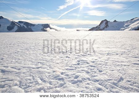 Winter landscape at Mountain Cook National Park New Zealand