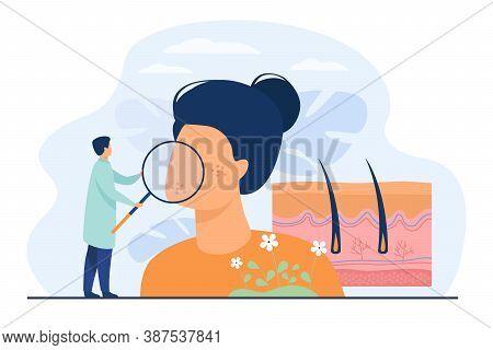 Tiny Dermatologist Examining Dry Face Skin Flat Vector Illustration. Abstract Epidermis Disease Diag