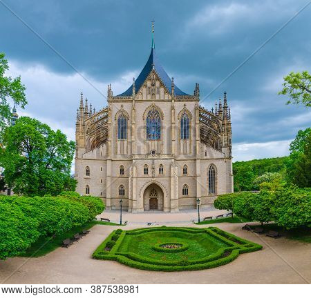 Saint Barbaras Church Cathedral Of St Barbara Roman Catholic Church Gothic Style Building Facade, Fl
