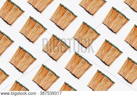 Pattern Of Many Matchsticks, Isolated On White Background.