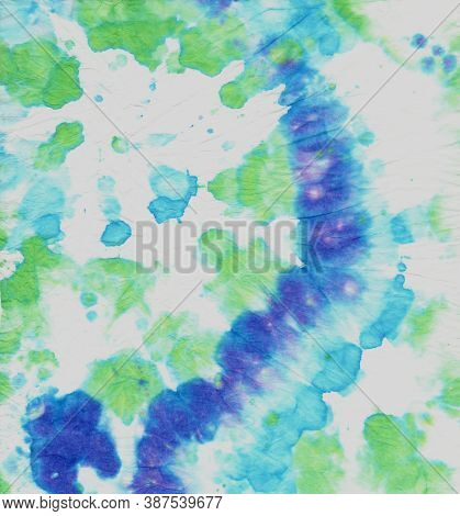 Hippie Texture With Psychedelic Spiral. Color Background. Colorful Tie Dye. Tie Die Circular Pattern