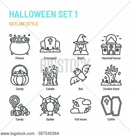 Halloween Icon And Symbol Set. Vector Illustration