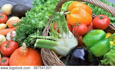 Close On Various  And Colorful Vegetables In A Basket