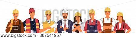 Team Of Builders And Industrial Workers Standing Together Vector Flat Illustration. Portrait Of Smil