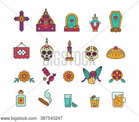 Dia De Muertos - Solid Icons In Bright Colors. Day Of The Dead - Calavera Symbols. Sugar Skulls, Bre