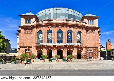 Mainz, Germany - July 2020: Building Of Mainz State Theatre Called 'staatstheater', Constructed Betw